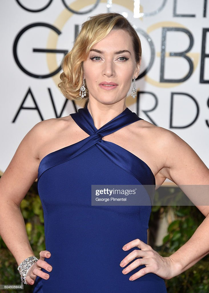 Actress Kate Winslet jewelry detail attends the 73rd Annual Golden Globe Awards held at The Beverly Hilton Hotel on January 10 2016 in Beverly Hills...