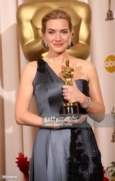 Actress Kate Winslet poses after winning the Best Actress award for 'The Reader' in the press room at the 81st Annual Academy Awards held at Kodak...