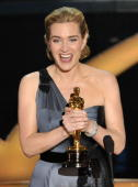 Actress Kate Winslet speaks on stage after winning the Best Actress award for 'The Reader' during the 81st Annual Academy Awards held at Kodak...