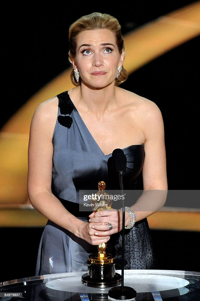 Actress <a gi-track='captionPersonalityLinkClicked' href=/galleries/search?phrase=Kate+Winslet&family=editorial&specificpeople=201923 ng-click='$event.stopPropagation()'>Kate Winslet</a> speaks on stage after winning the Best Actress award for 'The Reader' during the 81st Annual Academy Awards held at Kodak Theatre on February 22, 2009 in Los Angeles, California.