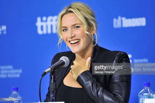 Actress Kate Winslet speaks onstage at the 'Labor Day' Press Conference during the 2013 Toronto International Film Festival at TIFF Bell Lightbox on...