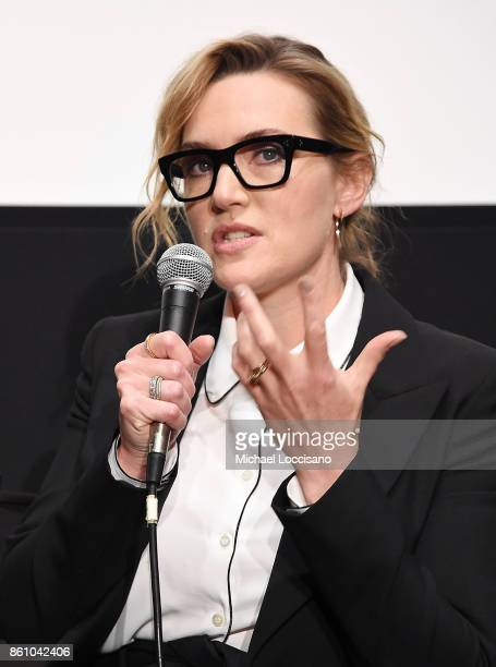 Actress Kate Winslet takes part in a conversation during the 55th New York Film Festival at the Elinor Bunin Munroe Film Center on October 13 2017 in...