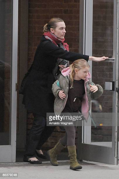 Actress Kate Winslet walks with her daughter Mia March 11 2009 in New York City