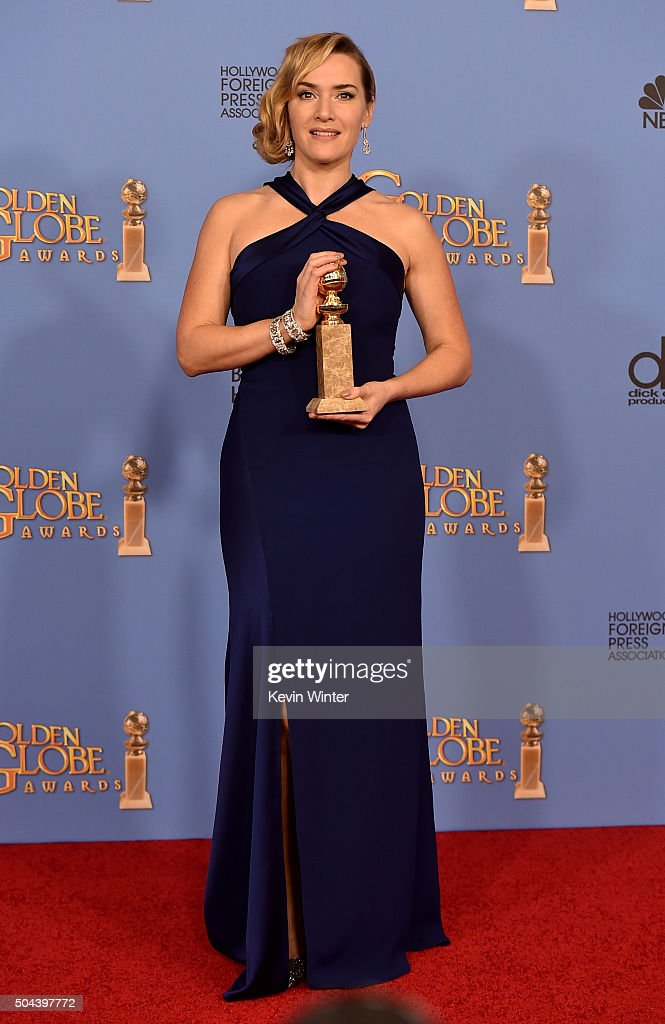 Actress Kate Winslet winner of Best Supporting Performance in a Motion Picture for 'Steve Jobs' poses in the press room during the 73rd Annual Golden...