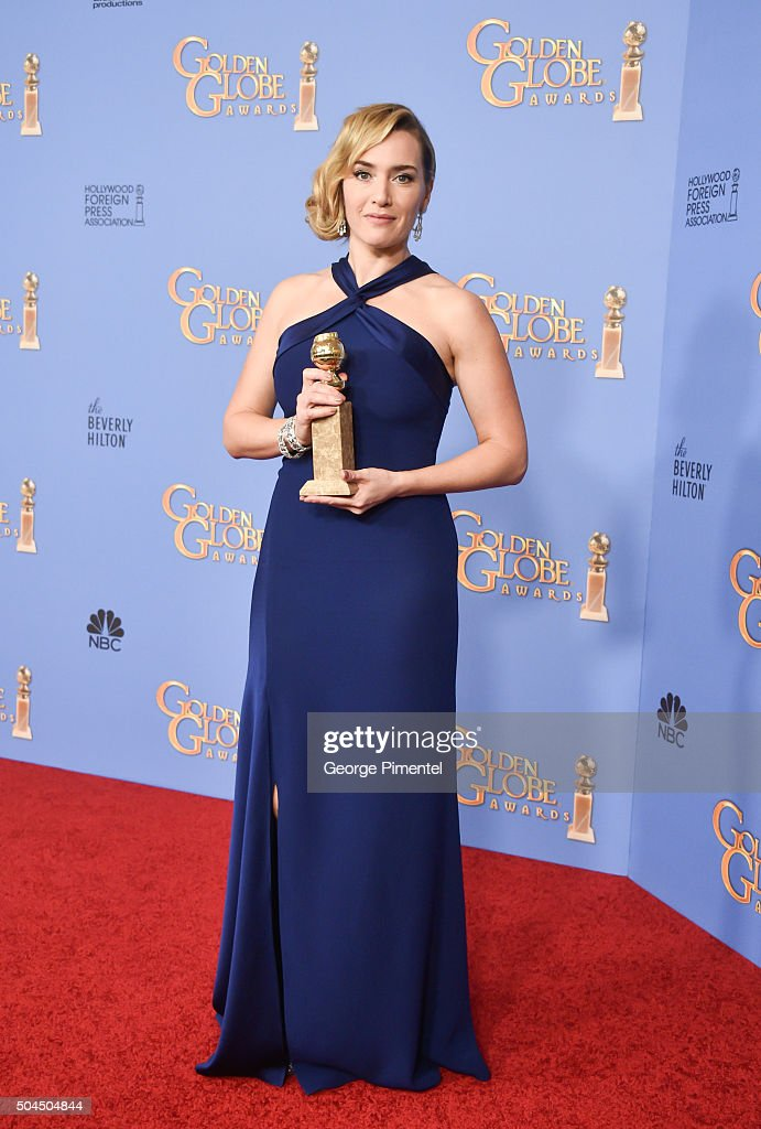 Actress Kate Winslet winner of the award for Best Performance by an Actress in a Supporting Role in any Motion Picture for 'Steve Jobs' poses in the...