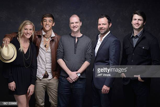 Actress Katee Sackhoff Actor Brenton Thwaites director Mike Flanagan actor Rory Cochrane and actor James Lafferty of 'Oculus' pose at the Guess...