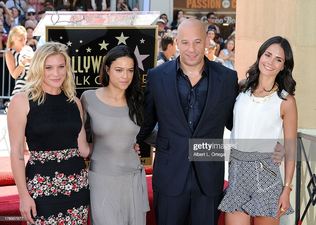 Actress Katee Sackhoff, actress Michelle Rodriguez, actor Vin Diesel and actress Jordana Brewster attend the Star Ceremony for Vin Diesel on the Hollywood Walk Of Fame held on August 26, 2013 in Hollywood, California.