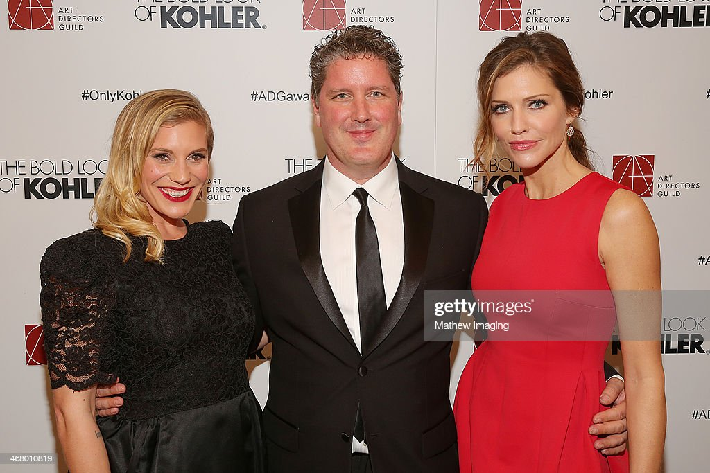 Actress Katee Sackhoff, ADG Awards Co-Producer Dave Blass and actress Tricia Helfer at the 18th Annual ADG Awards held at The Beverly Hilton Hotel on February 8, 2014 in Beverly Hills, California.