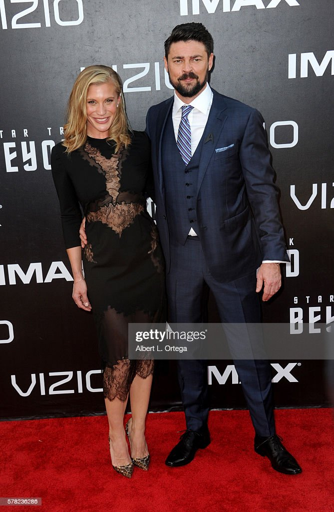 Actress Katee Sackhoff and actor Karl Urban arrive for the Premiere Of Paramount Pictures' 'Star Trek Beyond' held at Embarcadero Marina Park South on July 20, 2016 in San Diego, California.