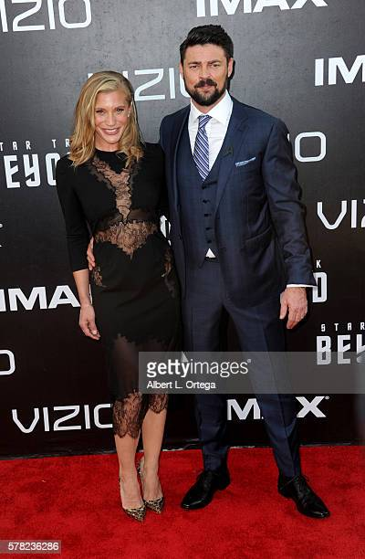 Actress Katee Sackhoff and actor Karl Urban arrive for the Premiere Of Paramount Pictures' 'Star Trek Beyond' held at Embarcadero Marina Park South...