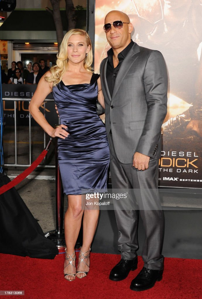Actress <a gi-track='captionPersonalityLinkClicked' href=/galleries/search?phrase=Katee+Sackhoff&family=editorial&specificpeople=2310579 ng-click='$event.stopPropagation()'>Katee Sackhoff</a> and actor <a gi-track='captionPersonalityLinkClicked' href=/galleries/search?phrase=Vin+Diesel&family=editorial&specificpeople=171983 ng-click='$event.stopPropagation()'>Vin Diesel</a> arrive at the Los Angeles Premiere 'Riddick' at the Mann Village Theater on August 28, 2013 in Westwood, California.