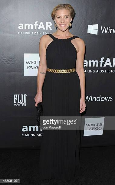 Actress Katee Sackhoff arrives at the 2014 amfAR LA Inspiration Gala at Milk Studios on October 29 2014 in Hollywood California
