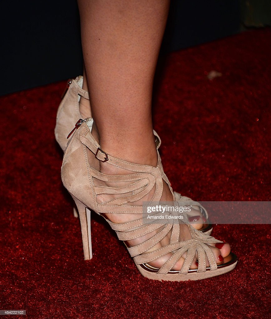 Actress Katee Sackhoff (shoe detail) arrives at the 2014 Entertainment Weekly Pre-Emmy Party at Fig & Olive Melrose Place on August 23, 2014 in West Hollywood, California.