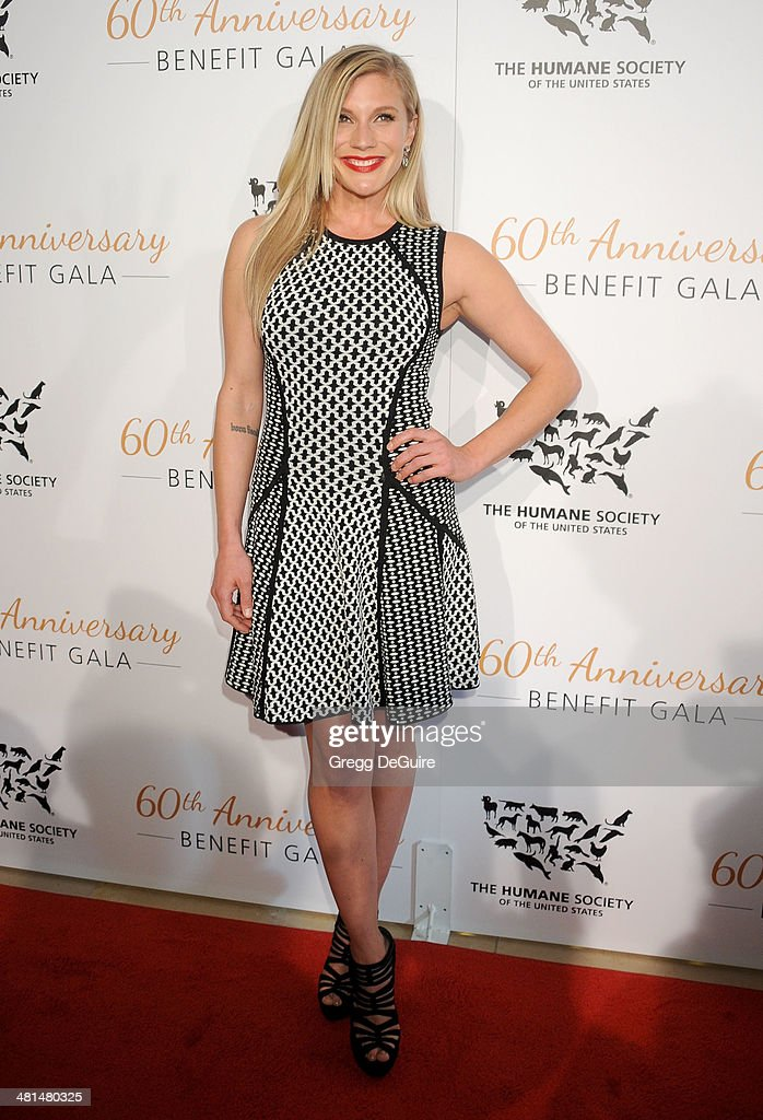 Actress Katee Sackhoff arrives at The Humane Society Of The United States 60th anniversary benefit gala at The Beverly Hilton Hotel on March 29, 2014 in Beverly Hills, California.