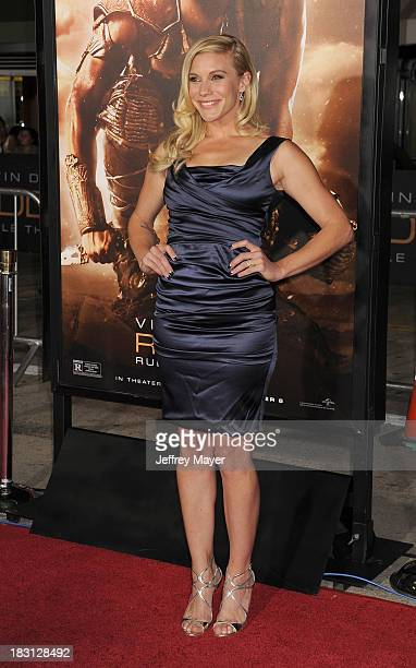 Actress Katee Sackhoff arrives at the Los Angeles premiere of 'Riddick' at the Westwood Village Theatre on August 28 2013 in Westwood California