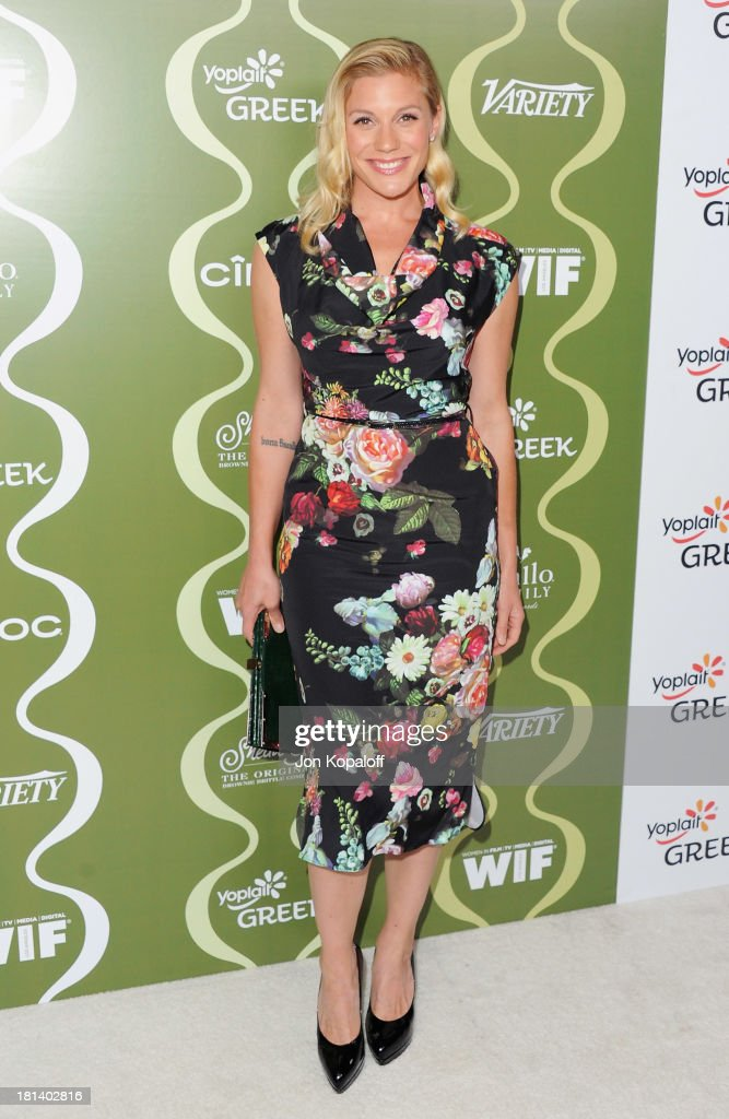 Actress <a gi-track='captionPersonalityLinkClicked' href=/galleries/search?phrase=Katee+Sackhoff&family=editorial&specificpeople=2310579 ng-click='$event.stopPropagation()'>Katee Sackhoff</a> arrives at the Variety And Women In Film Pre-Emmy Party at Scarpetta on September 20, 2013 in Beverly Hills, California.