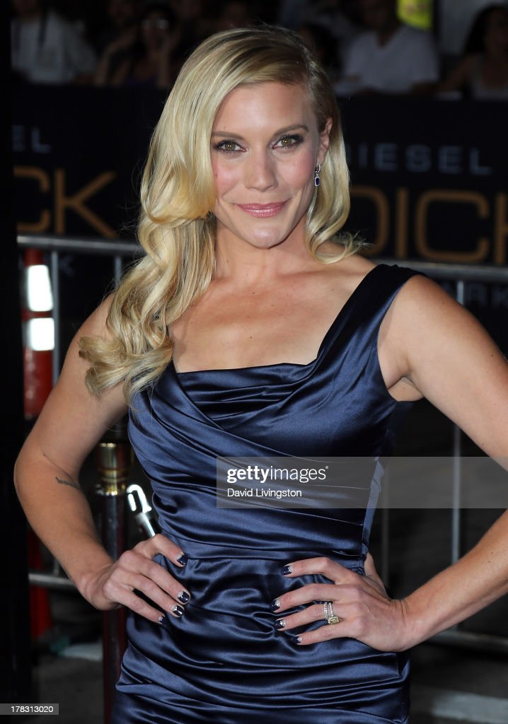 Actress <a gi-track='captionPersonalityLinkClicked' href=/galleries/search?phrase=Katee+Sackhoff&family=editorial&specificpeople=2310579 ng-click='$event.stopPropagation()'>Katee Sackhoff</a> attends the premiere of Universal Pictures' 'Riddick' at the Mann Village Theatre on August 28, 2013 in Westwood, California.