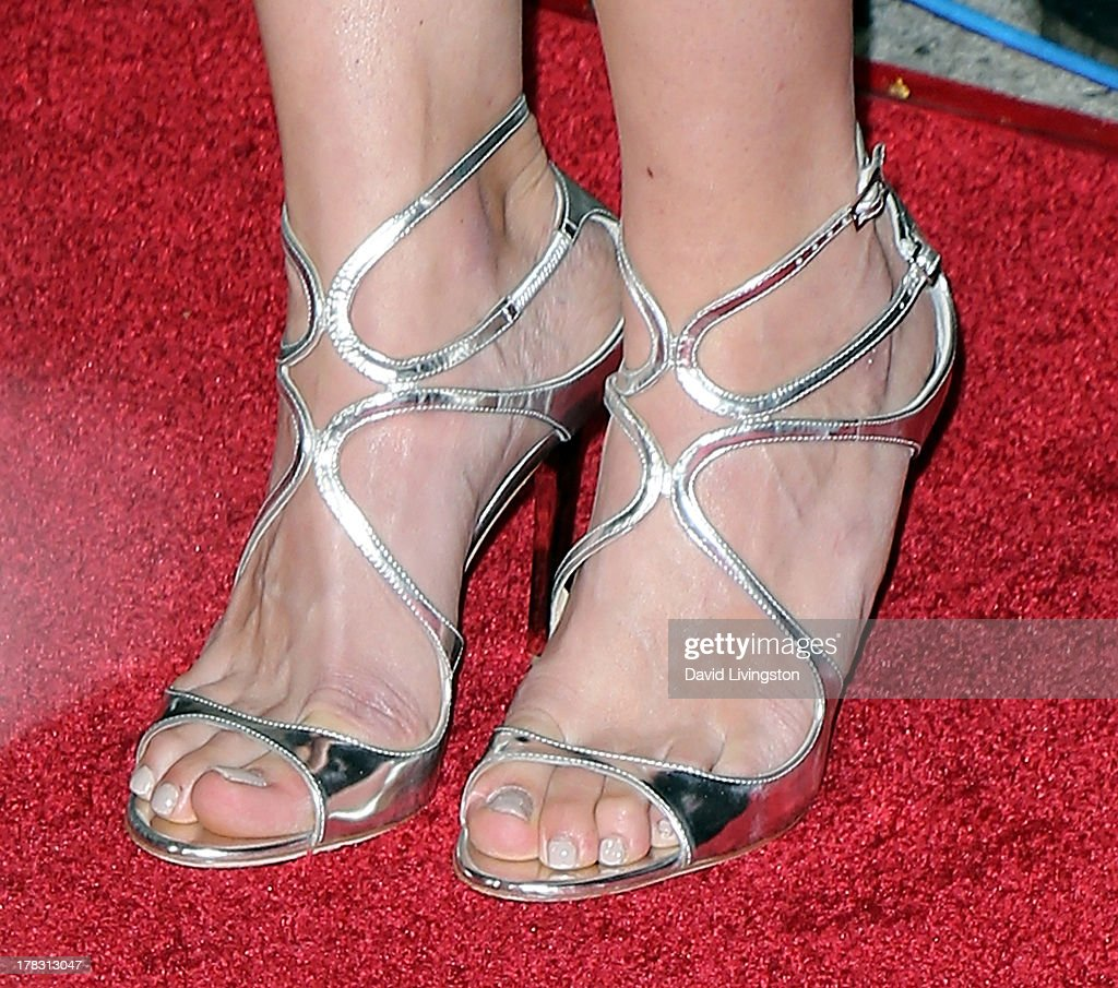 Actress Katee Sackhoff (shoe detail) attends the premiere of Universal Pictures' 'Riddick' at the Mann Village Theatre on August 28, 2013 in Westwood, California.