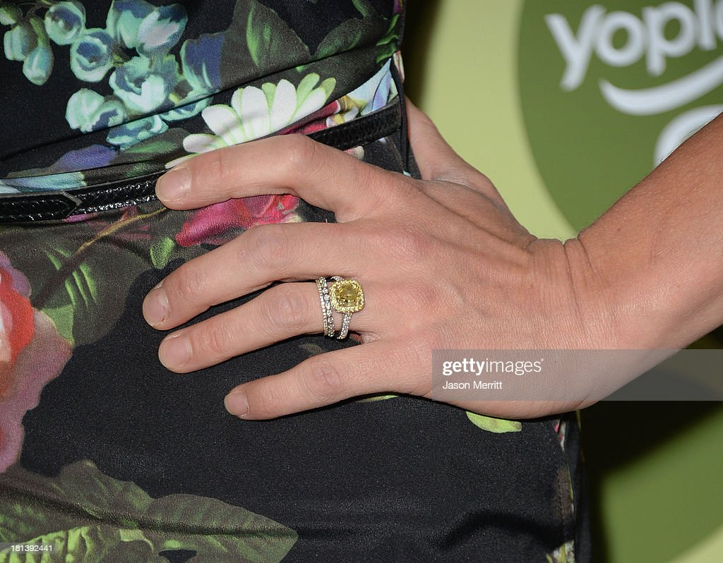 Actress Katee Sackhoff (fashion detail) attends Variety & Women In Film Pre-Emmy Event presented by Yoplait Greek at Scarpetta on September 20, 2013 in Beverly Hills, California.