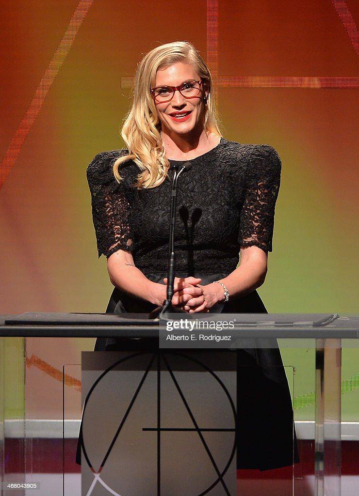 Actress <a gi-track='captionPersonalityLinkClicked' href=/galleries/search?phrase=Katee+Sackhoff&family=editorial&specificpeople=2310579 ng-click='$event.stopPropagation()'>Katee Sackhoff</a> speaks on stage atthe 18th Annual Art Directors Guild Exellence In Production Design Awards at The Beverly Hilton Hotel on February 8, 2014 in Beverly Hills, California.