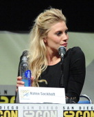 Actress Katee Sackhoff speaks onstage at the Lionsgate preview featuring 'I Frankenstein' and 'The Hunger Games Catching Fire' during ComicCon...