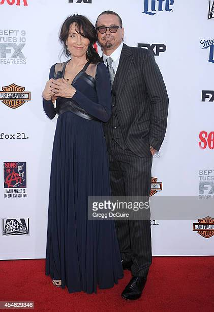 Actress Katey Sagal and executive producer Kurt Sutter arrive at FX's 'Sons Of Anarchy' premiere at TCL Chinese Theatre on September 6 2014 in...