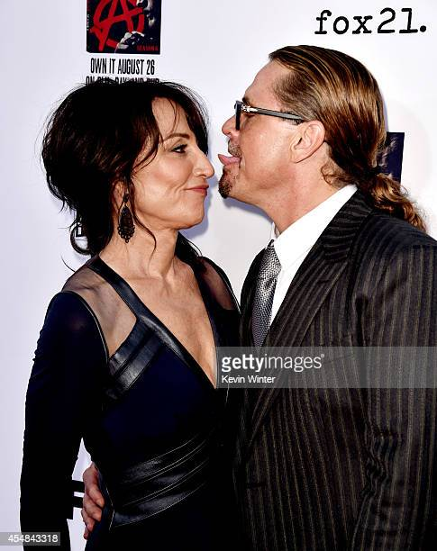 Actress Katey Sagal and husband executive producer Kurt Sutter arrive at the season 7 premiere screening of FX's 'Sons of Anarchy' at the Chinese...