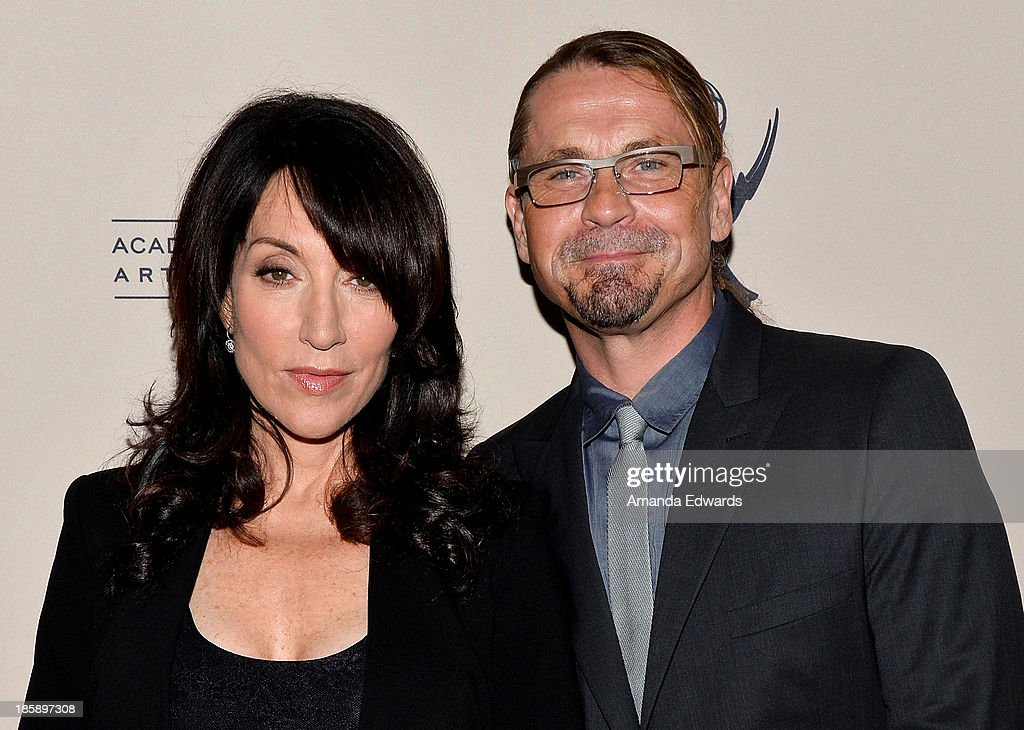 Actress <a gi-track='captionPersonalityLinkClicked' href=/galleries/search?phrase=Katey+Sagal&family=editorial&specificpeople=221480 ng-click='$event.stopPropagation()'>Katey Sagal</a> (L) and series creator Kurt Sutter arrive at an evening with 'Sons Of Anarchy' presented by The Television Academy at the Leonard H. Goldenson Theatre on October 25, 2013 in North Hollywood, California.