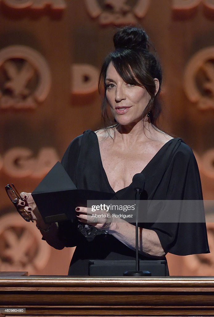 Actress <a gi-track='captionPersonalityLinkClicked' href=/galleries/search?phrase=Katey+Sagal&family=editorial&specificpeople=221480 ng-click='$event.stopPropagation()'>Katey Sagal</a> speaks onstage at the 67th Annual Directors Guild Of America Awards at the Hyatt Regency Century Plaza on February 7, 2015 in Century City, California.