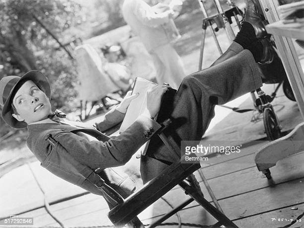 Actress Katharine Hepburn dresses as a man for her role in Sylvia Scarlett