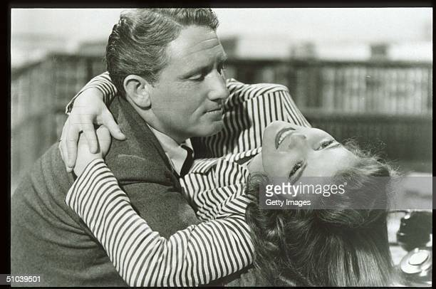 Actress Katharine Hepburn Embraces Actor Spencer Tracy Hepburn Received Four Oscars For Best Actress In The Span Of A Sixty Year Career