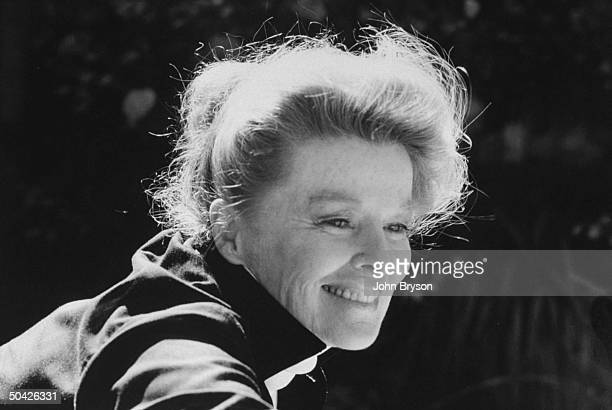 Actress Katharine Hepburn outdoors nr country home