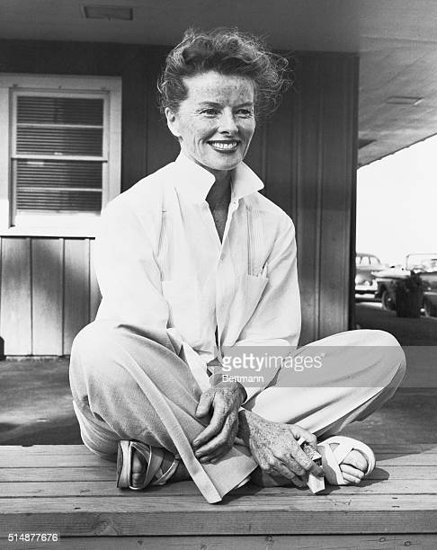 Actress Katharine Hepburn relaxes in Stratford Connecticut where she is rehearsing for Shakespeare's Merchant of Venice with the American Shakespeare...