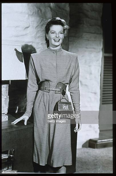 Actress Katharine Hepburn Stands In USA Hepburn Received Four Oscars For Best Actress In The Span Of A Sixty Year Career