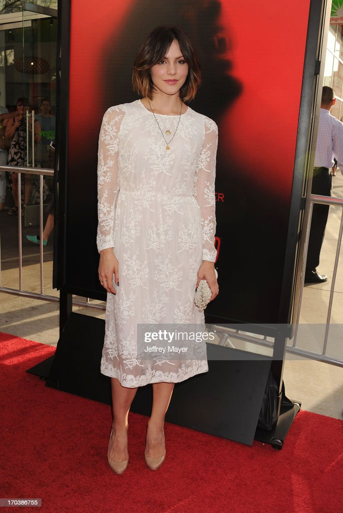 Actress <a gi-track='captionPersonalityLinkClicked' href=/galleries/search?phrase=Katharine+McPhee&family=editorial&specificpeople=581492 ng-click='$event.stopPropagation()'>Katharine McPhee</a> arrives at HBO's 'True Blood' season 6 premiere at ArcLight Cinemas Cinerama Dome on June 11, 2013 in Hollywood, California.