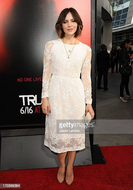 Actress Katharine McPhee attends the season 6 premiere of HBO's 'True Blood' at ArcLight Cinemas Cinerama Dome on June 11 2013 in Hollywood California