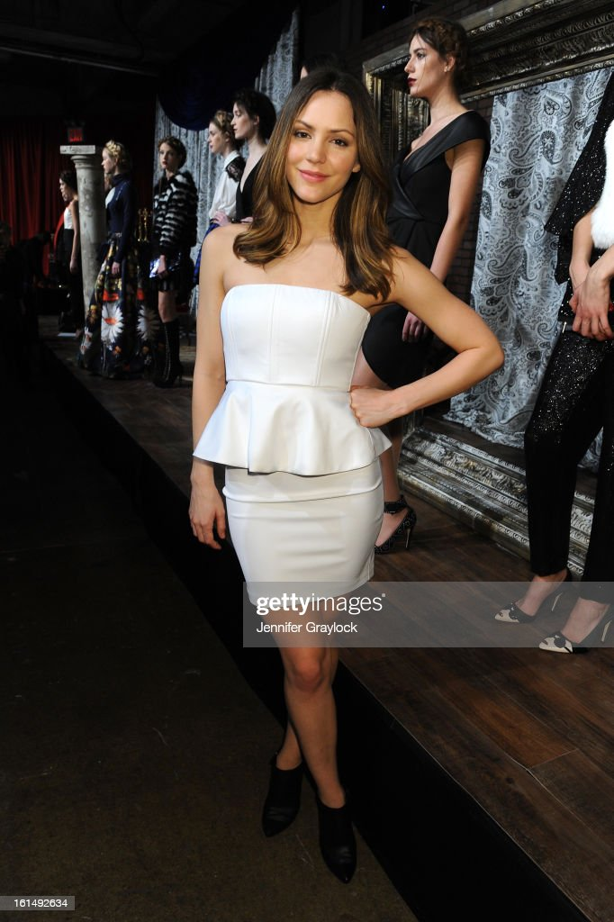 Actress Katharine Mcphee poses at the Alice + Olivia By Stacey Bendet Fall 2013 fashion show presentation during Mercedes-Benz Fashion Week at Highline Stages on February 11, 2013 in New York City.