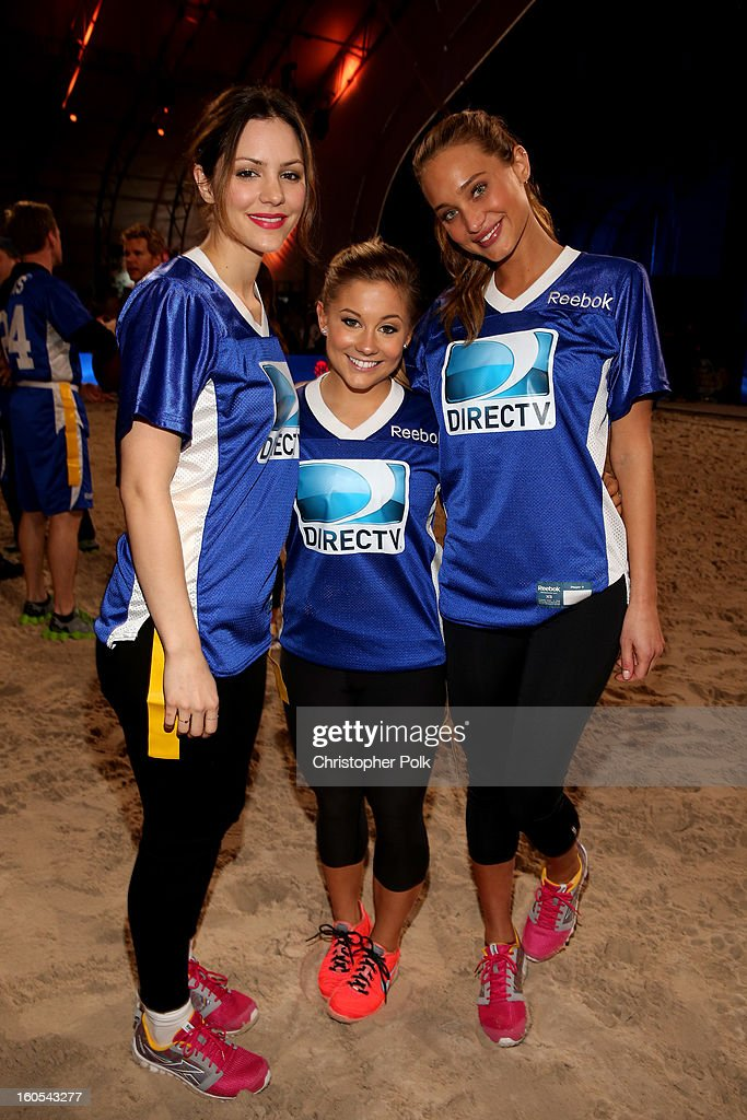 Actress Katharine McPhee, US Olympic gold medalist gymnast Shawn Johnson, and TV personality Rocsi Diaz attend DIRECTV'S Seventh Annual Celebrity Beach Bowl at DTV SuperFan Stadium at Mardi Gras World on February 2, 2013 in New Orleans, Louisiana.