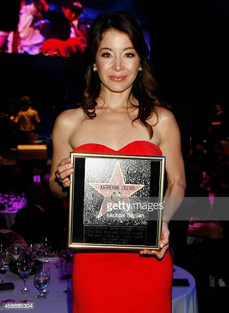 Actress Katherine Castro poses with an award during Katherine Castro Receives Hollywood FAME Awards at Avalon on November 12 2014 in Hollywood...