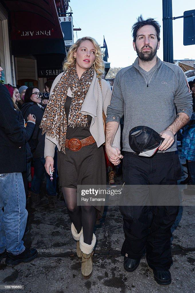 Actress Katherine Heigl (L) and Josh Kelley walk in Park City on January 19, 2013 in Park City, Utah.