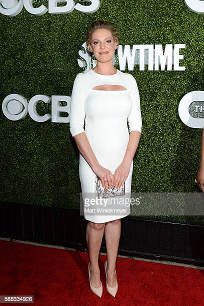 Actress Katherine Heigl arrives at the CBS CW Showtime Summer TCA Party at Pacific Design Center on August 10 2016 in West Hollywood California