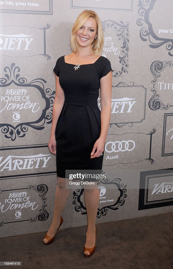 Actress <a gi-track='captionPersonalityLinkClicked' href=/galleries/search?phrase=Katherine+Heigl&family=editorial&specificpeople=206952 ng-click='$event.stopPropagation()'>Katherine Heigl</a> arrives at Variety's 4th Annual Power Of Women event at the Beverly Wilshire Four Seasons Hotel on October 5, 2012 in Beverly Hills, California.