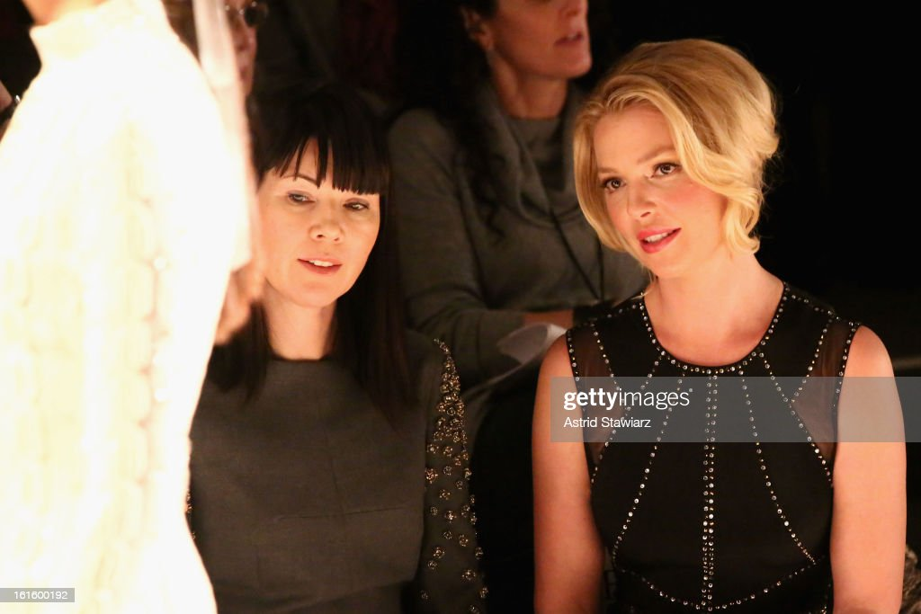 Actress <a gi-track='captionPersonalityLinkClicked' href=/galleries/search?phrase=Katherine+Heigl&family=editorial&specificpeople=206952 ng-click='$event.stopPropagation()'>Katherine Heigl</a> (R) attend the TRESemme At Jenny Packham Fall 2013 fashion show during Mercedes-Benz Fashion Week at The Studio at Lincoln Center on February 12, 2013 in New York City.