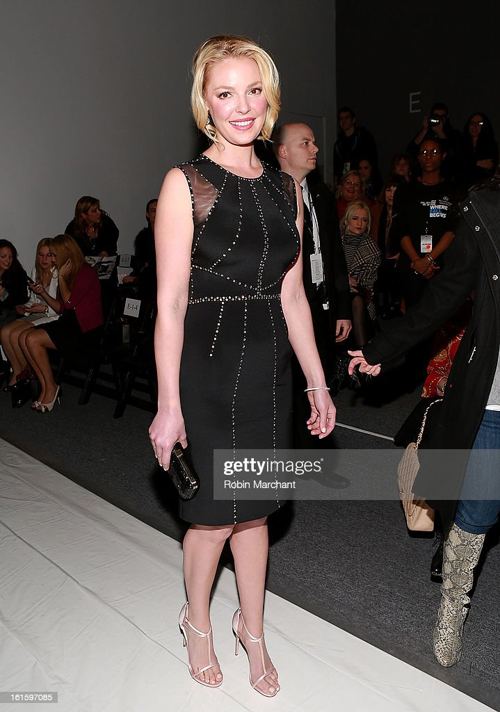 Actress Katherine Heigl attends Jenny Packham during Fall 2013 Mercedes-Benz Fashion Week at The Studio at Lincoln Center on February 12, 2013 in New York City.