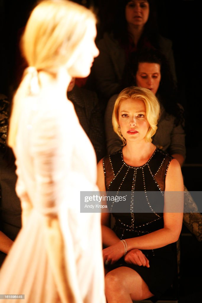 Actress Katherine Heigl attends the Jenny Packham Fall 2013 fashion show during Mercedes-Benz Fashion Week at The Studio at Lincoln Center on February 12, 2013 in New York City.
