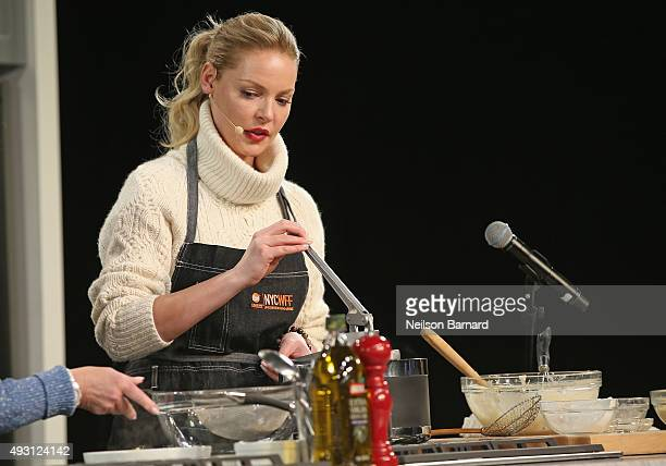 Actress Katherine Heigl cooks onstage during the Grand Tasting presented by ShopRite featuring Samsung culinary demonstrations presented by...