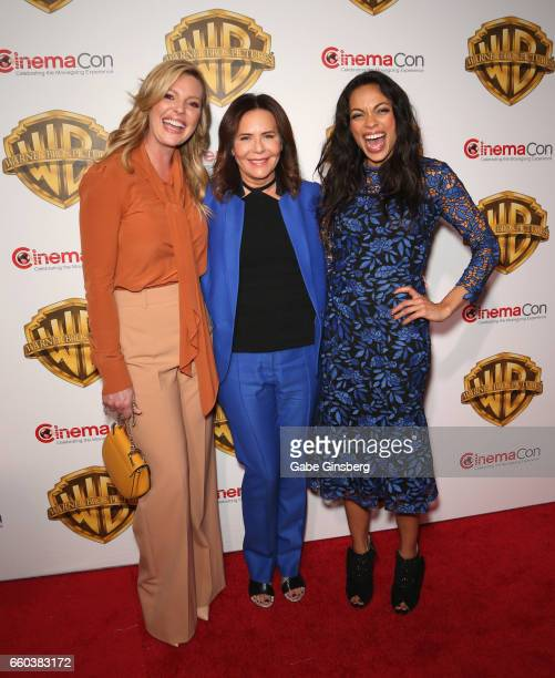 Actress Katherine Heigl director Denise Di Novi and actress Rosario Dawson attend the Warner Bros Pictures presentation during CinemaCon at The...