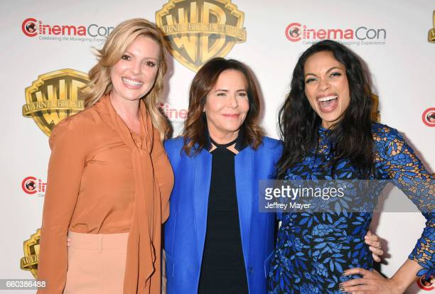 Actress Katherine Heigl director Denise Di Novi and actress Rosario Dawson arrive at the CinemaCon 2017 Warner Bros Pictures presentation of their...