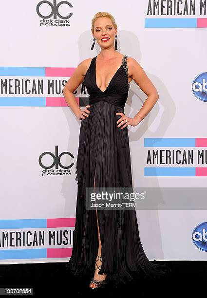 Actress Katherine Heigl poses in the press room at the 2011 American Music Awards held at Nokia Theatre LA LIVE on November 20 2011 in Los Angeles...