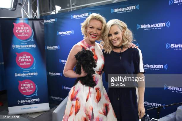 Actress Katherine Heigl poses with Sirius XM host Jenny McCarthy at Jenny McCarthy's 'Inner Circle' Series On Her SiriusXM Show 'The Jenny McCarthy...